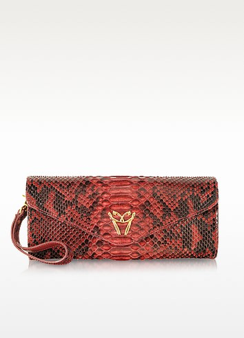 Red Python Leather Clutch w/Wristelet - Ghibli