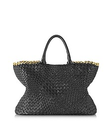 Black Woven Leather Tote w/Chain - Ghibli