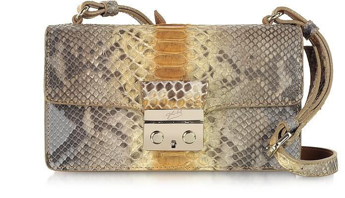 Python Leather Mini Shoulder Bag - Ghibli