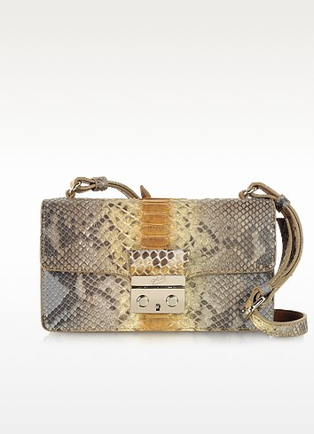 Python Leather Mini Shoulder Bag - Ghibli