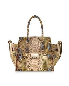 Python Leather Tote w/Shoulder Strap - Ghibli