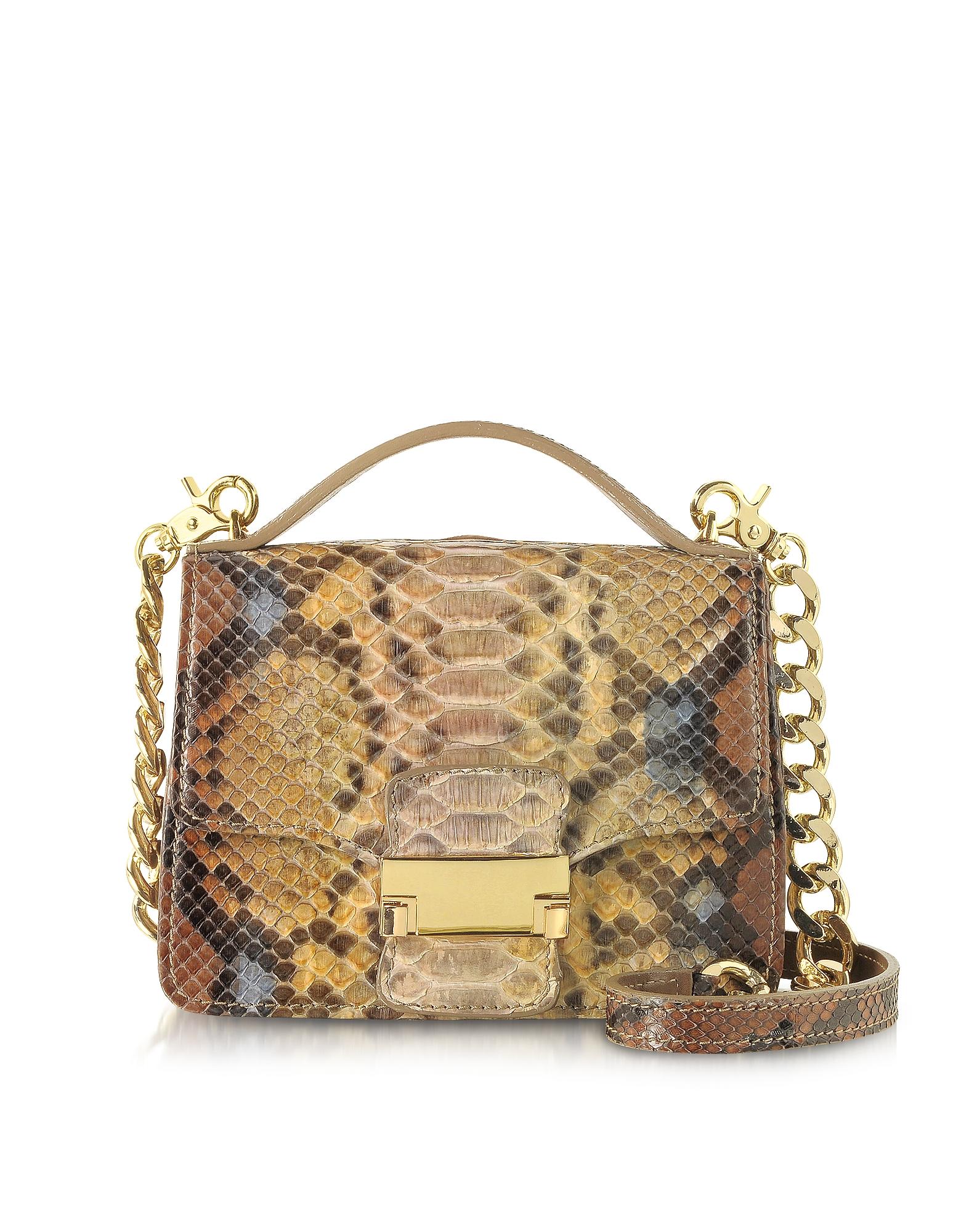 Ghibli Handbags, Golden Python Leather Shoulder Bag