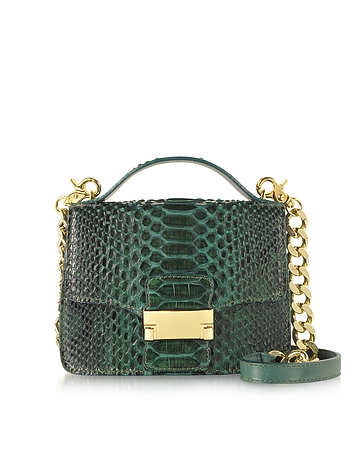 Ghibli - Emerald Green Python Leather Shoulder Bag