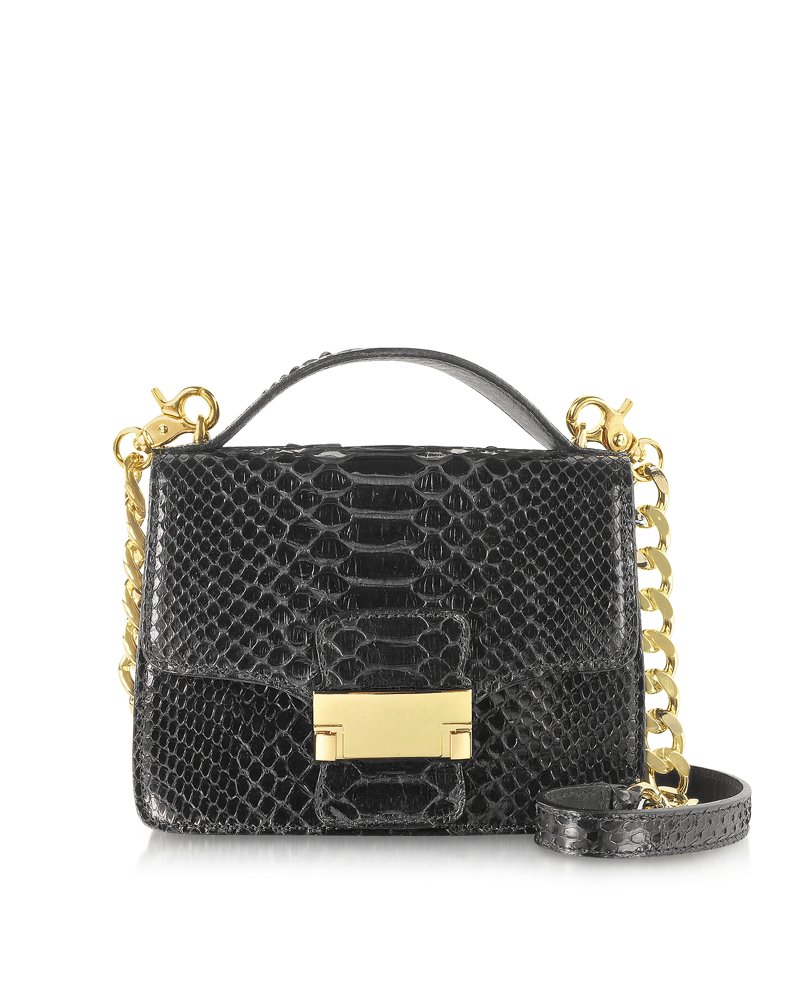 Ghibli Handbags, Black Python Leather Shoulder Bag