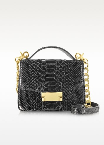 Black Python Leather Shoulder Bag - Ghibli