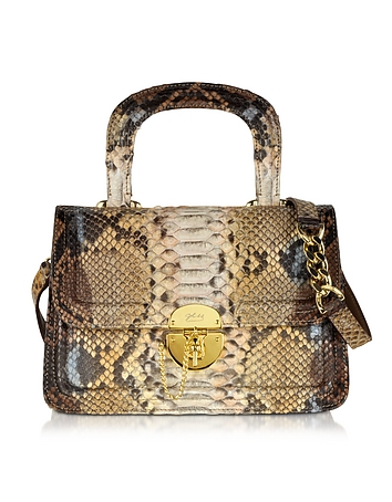 Golden Brown Python Shoulder Bag