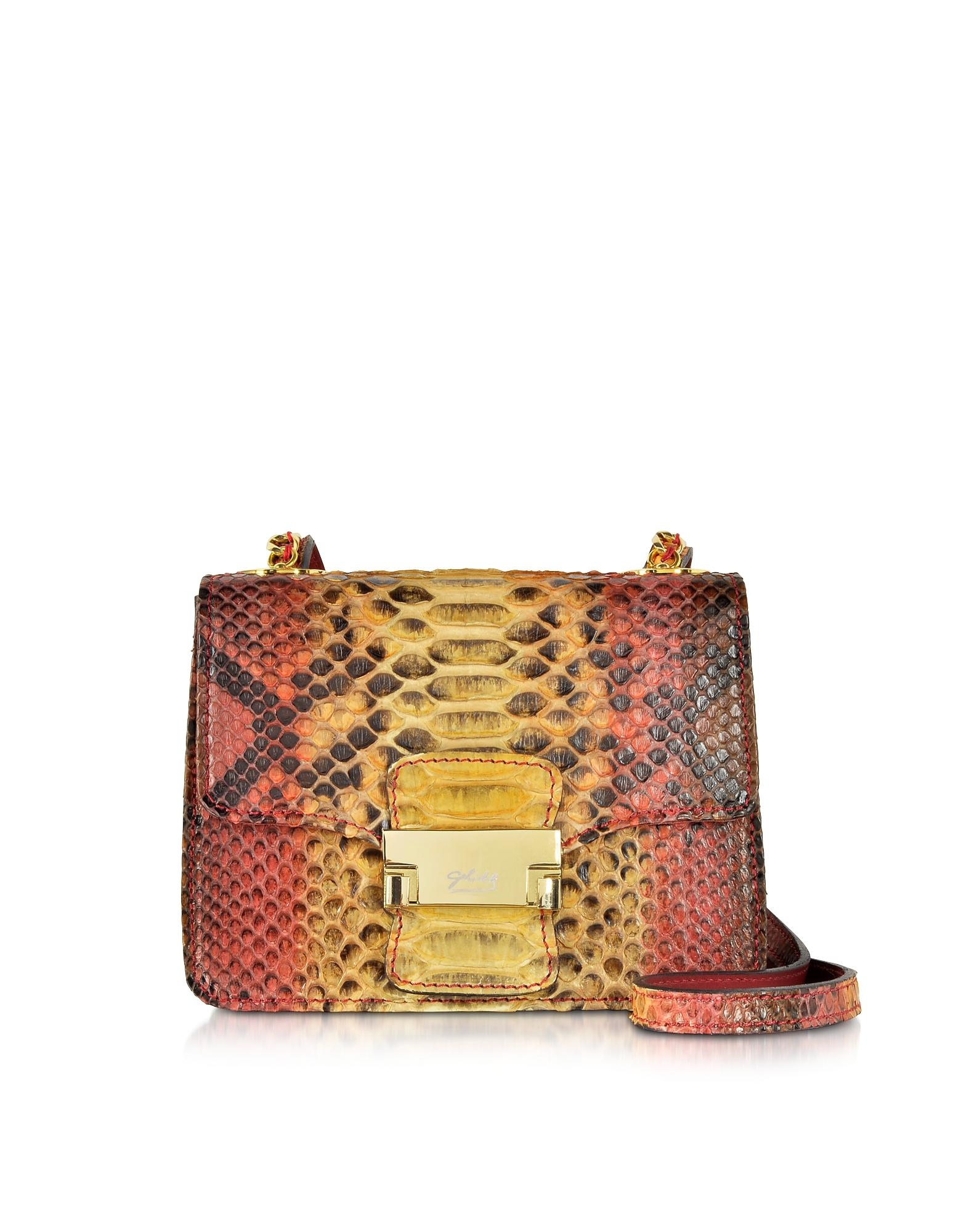 Ghibli Handbags, Python Mini Crossbody Bag
