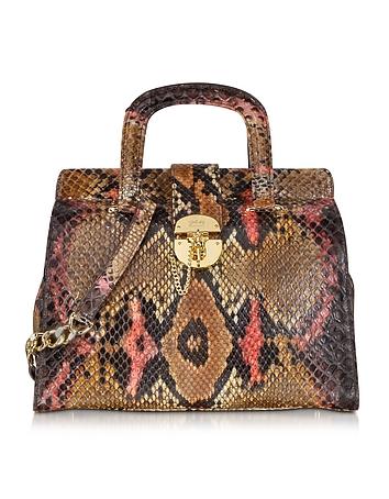 Brown and Pink Python Satchel Bag w/Detachable Shoulder Strap