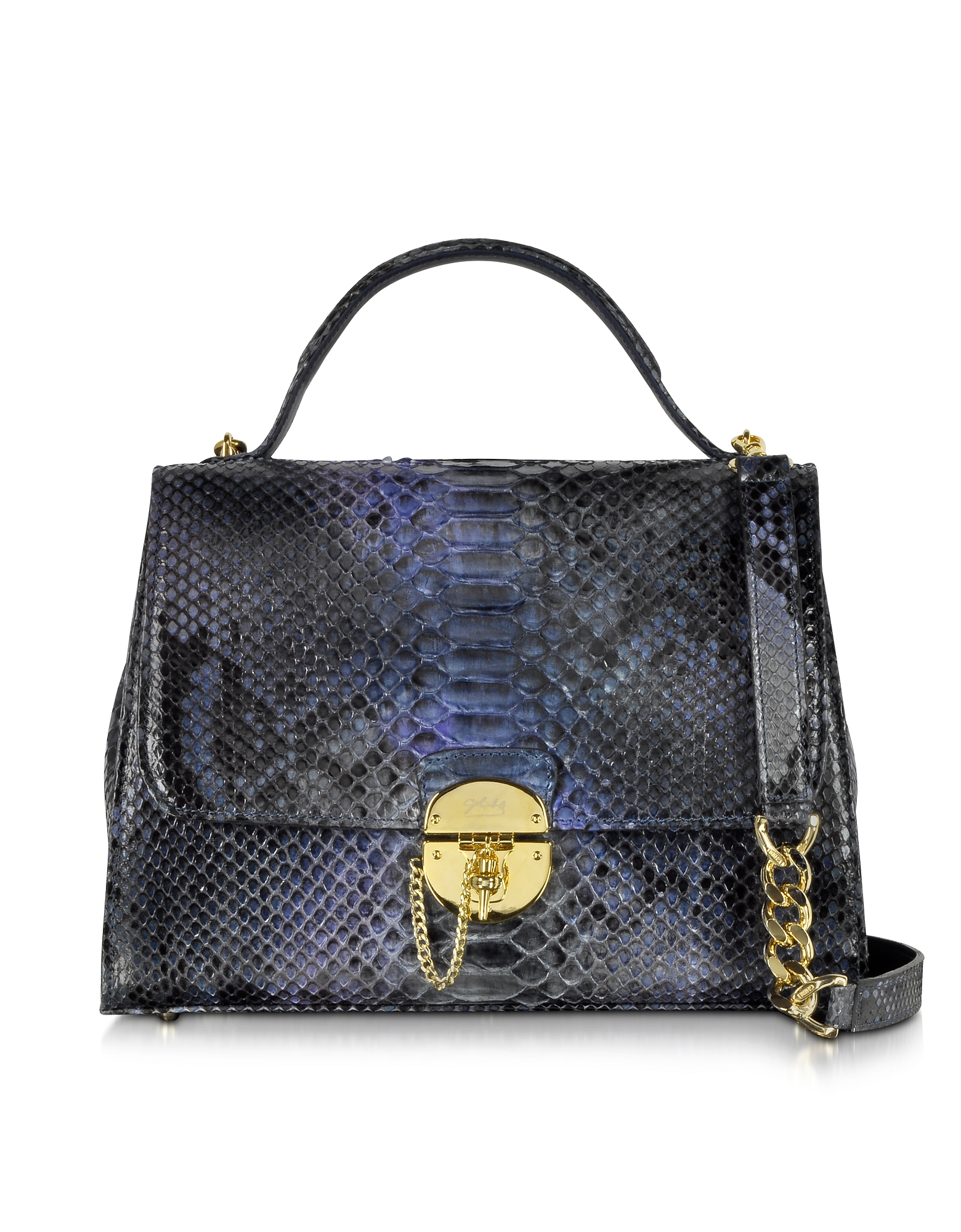 Ghibli Handbags, Dark Blue Python Satchel Bag w/Detachable Shoulder Strap