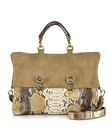 Golden Brown Python Tote w/Detachable Shoulder Strap - Ghibli
