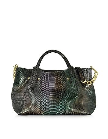 Dark Purple Phyton Leather Satchel Bag