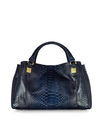 Midnight Blue Phyton Leather Satchel Bag