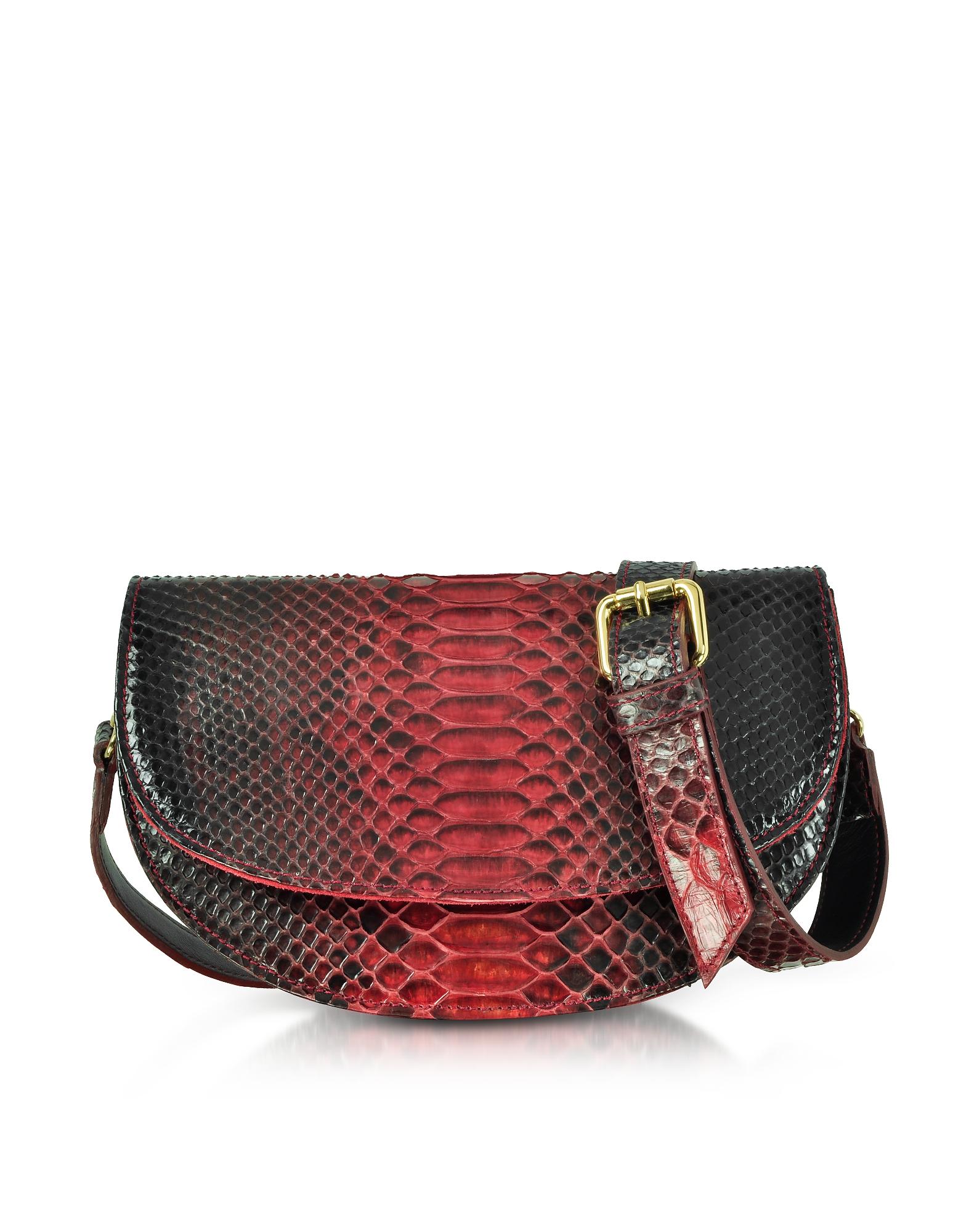 Red Python Leather Half-Moon Shoulder/Belt Bag