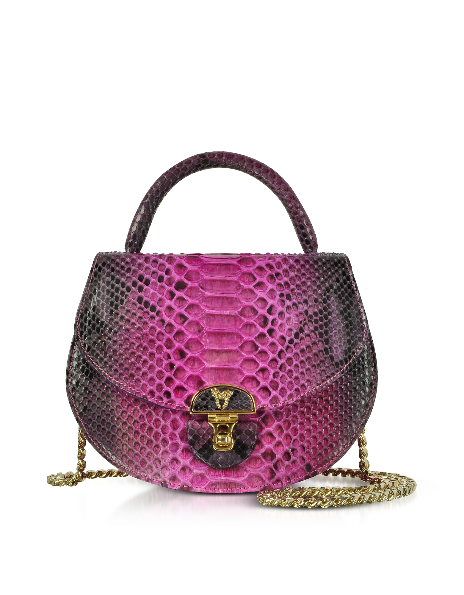 Ghibli Handbags, Python Leather Shoulder Bag w/Chain