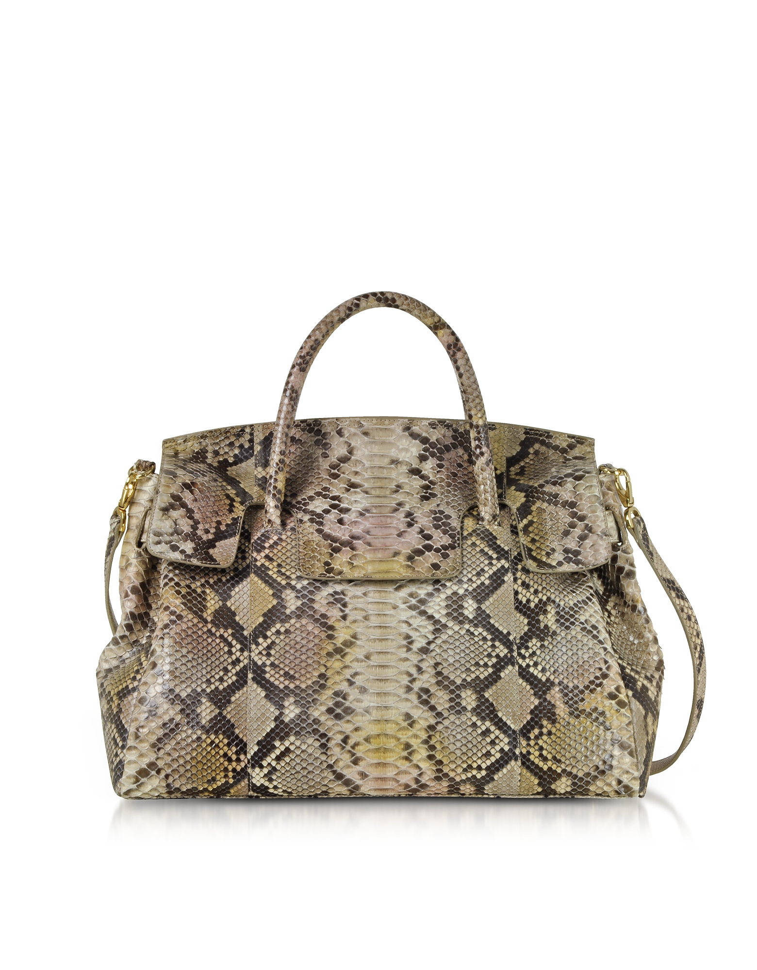 Ghibli Handbags, Python Leather Large Satchel Bag