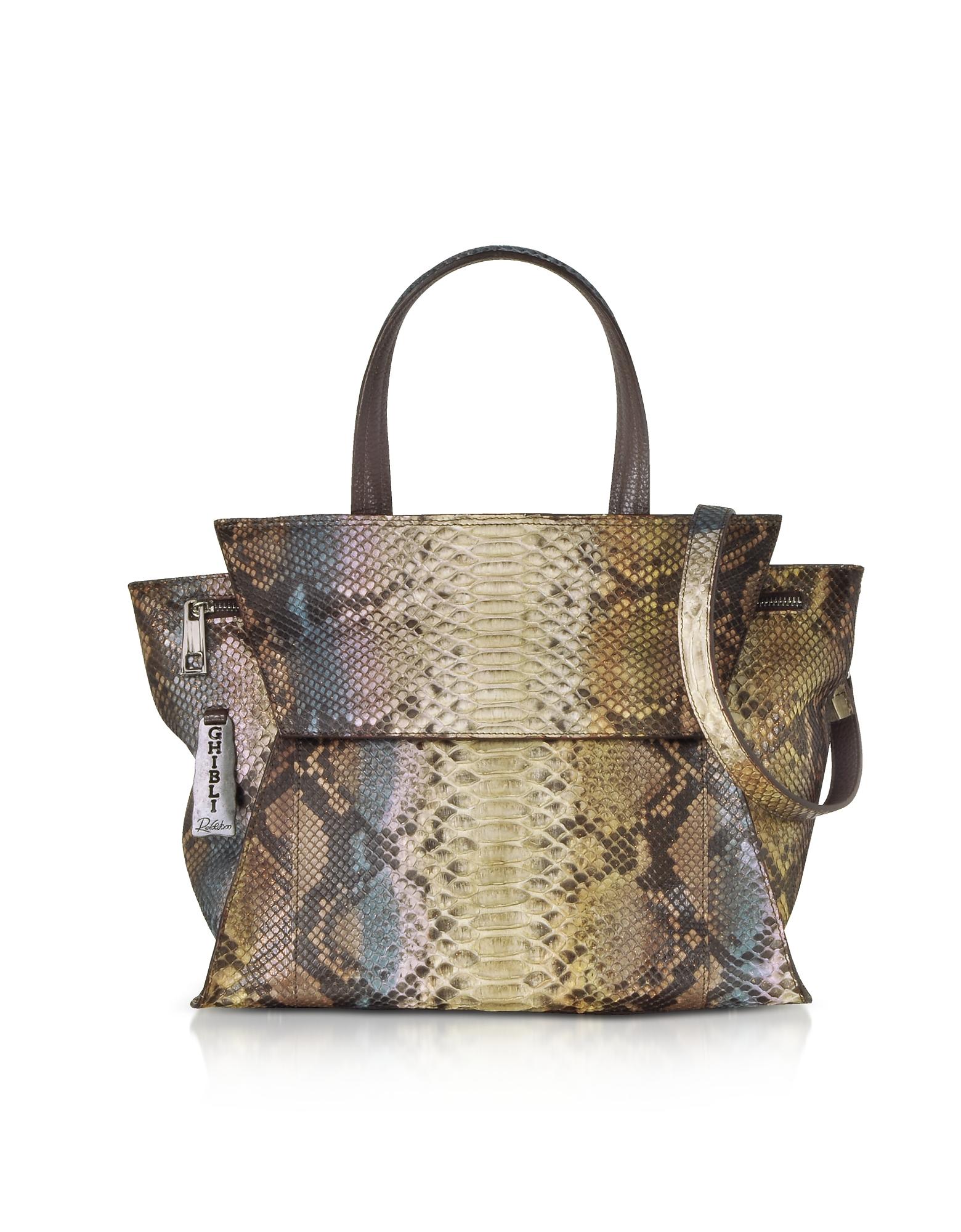 Image of Ghibli Designer Handbags, Brown Paillette Python Leather Satchel Bag w/Shoulder Strap