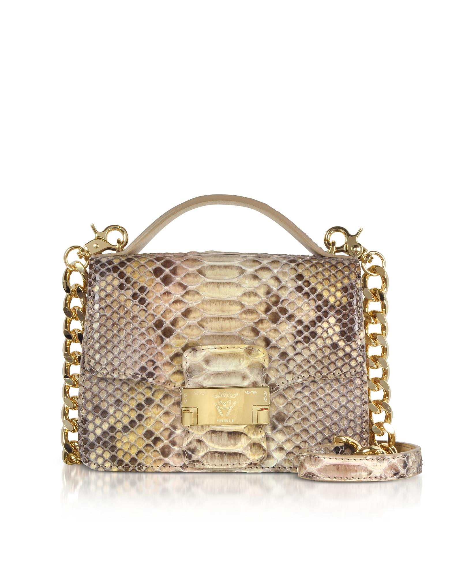 Image of Ghibli Designer Handbags, Python Leather Crossbody Bag