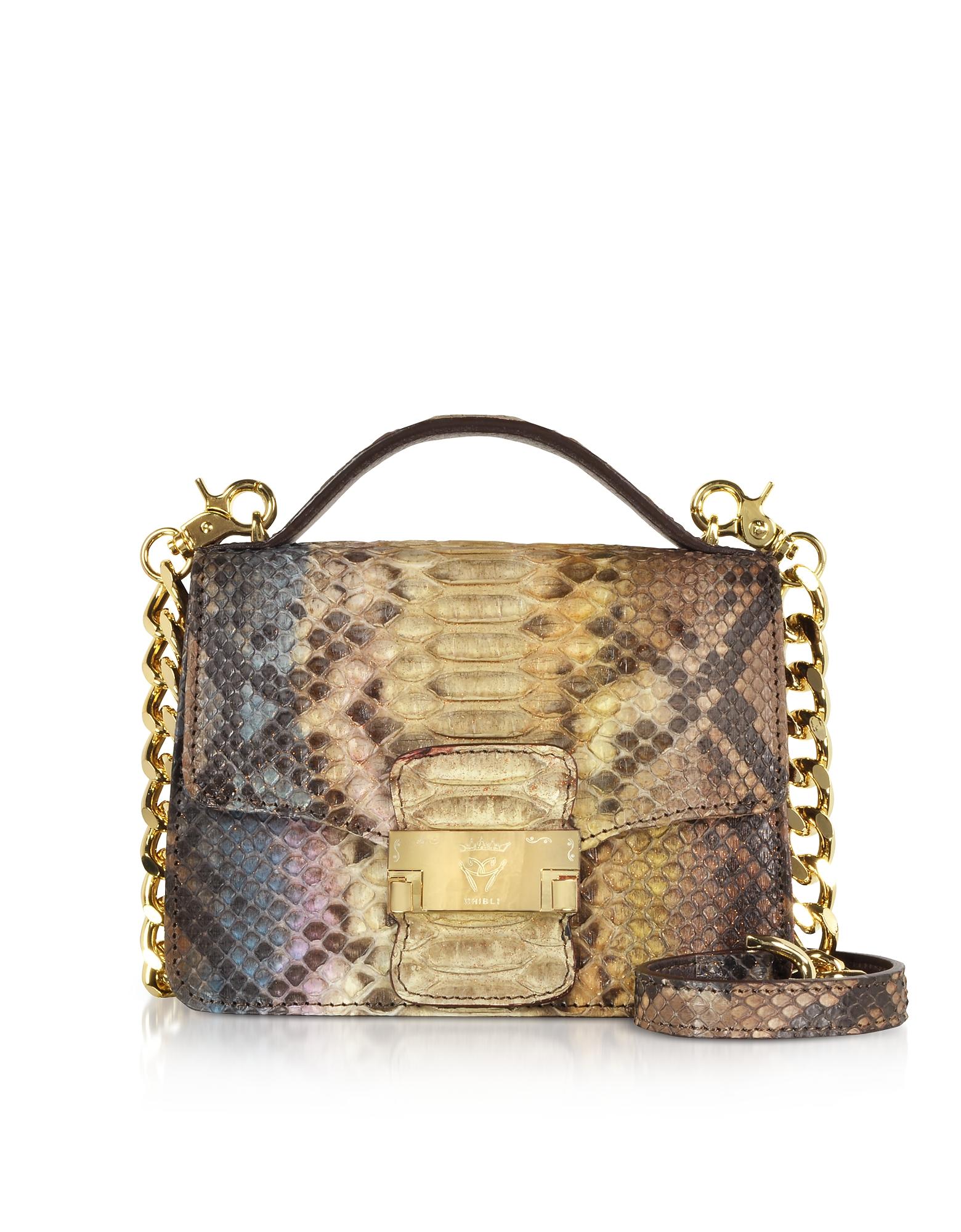 Ghibli Handbags, Brown Paillette Python Leather Crossbody Bag