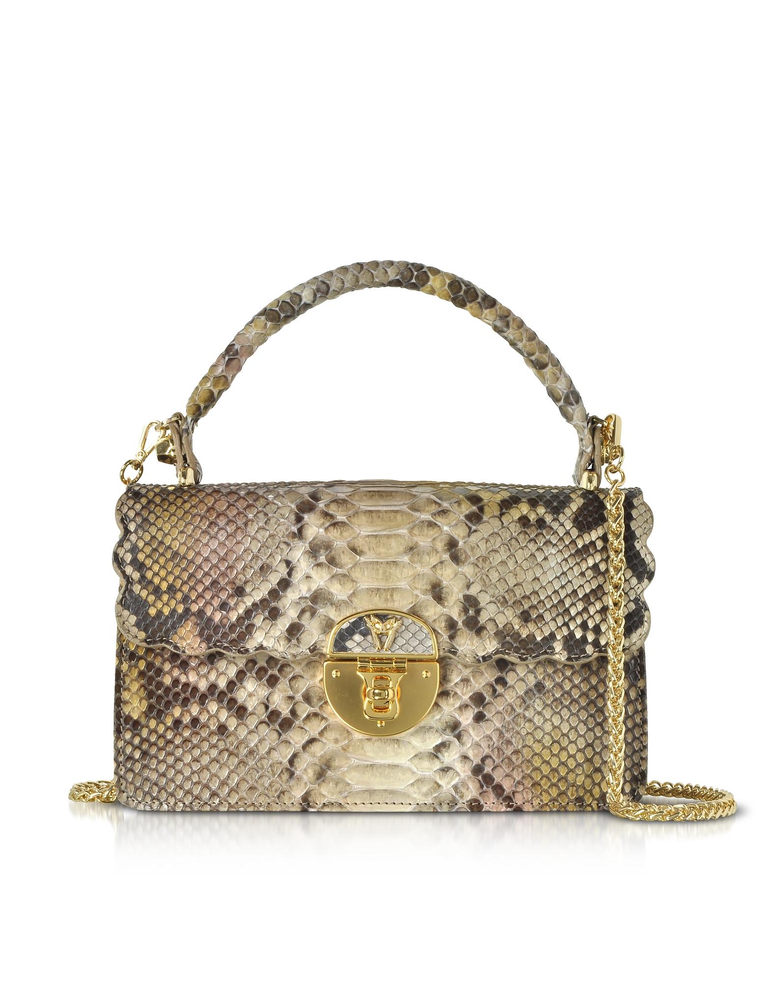 Ghibli Handbags, Python Leather Top Handle Satchel bag