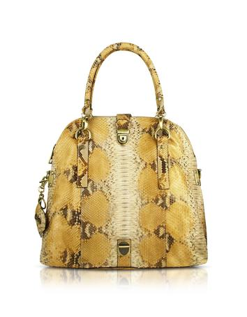 Ghibli Beige Python Convertible Fold-Over Tote Bag