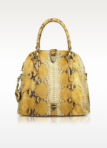 Beige Python Convertible Fold-Over Tote Bag - Ghibli