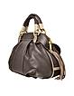 Medium Quilted Brown Suede and Leather Handbag - Ghibli