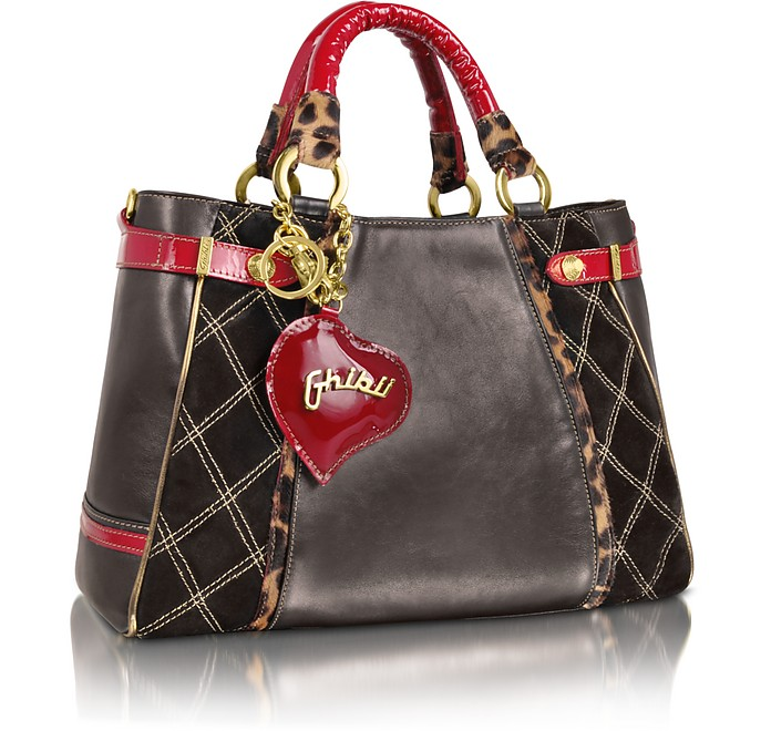 Large Black Quilted Suede Satchel Bag w/ Red Patent Handles - Ghibli