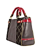 Large Black Quilted Suede Satchel Bag w/ Red Patent Handles - Ghibli
