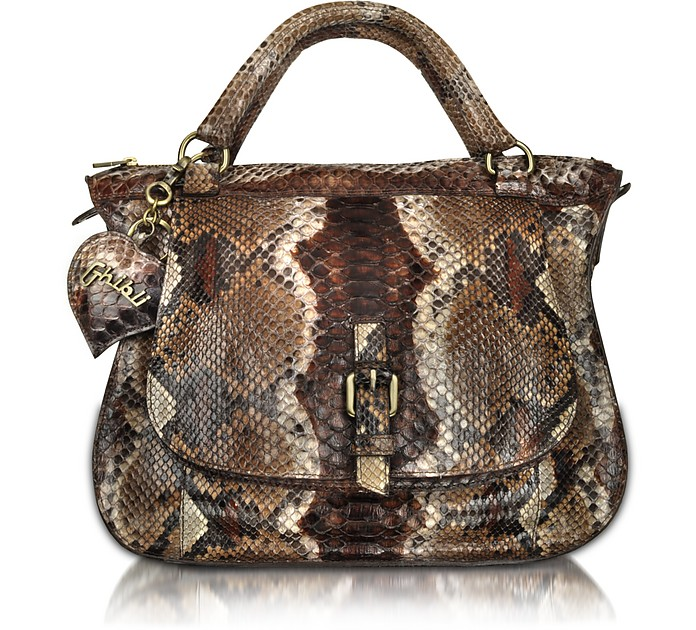 Brown Python Leather Double Handle Medium Bag - Ghibli