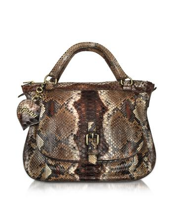 Ghibli Brown Python Leather Double Handle Medium Bag