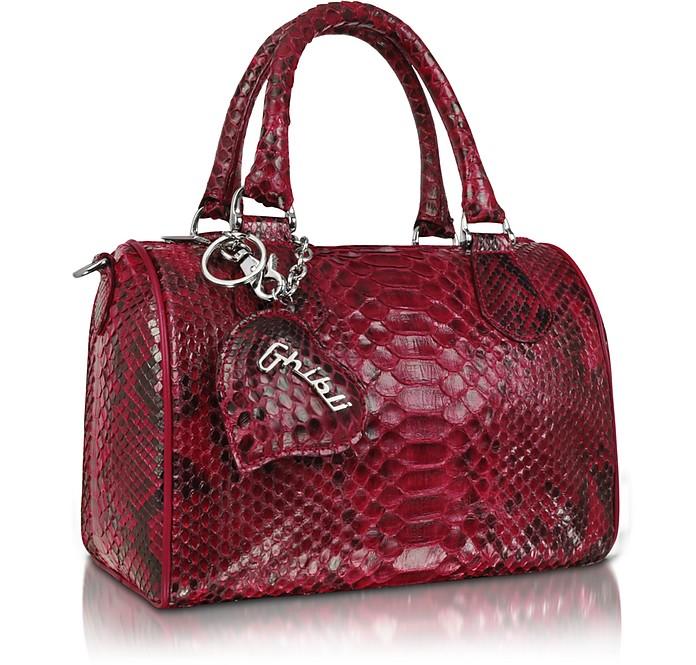 Red Python Leather Medium Satchel Bag w/ Shoulder Strap - Ghibli