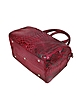 Red Python Leather Medium Satchel Bag w/ Shoulder Strap - Ghibli