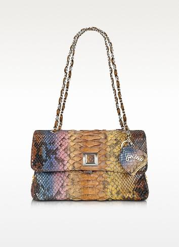 Brown Python Leather Baguette Bag w/ Chain Strap - Ghibli