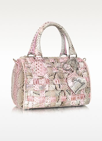 Woven Python Leather Satchel Bag w/ Shoulder Strap - Ghibli