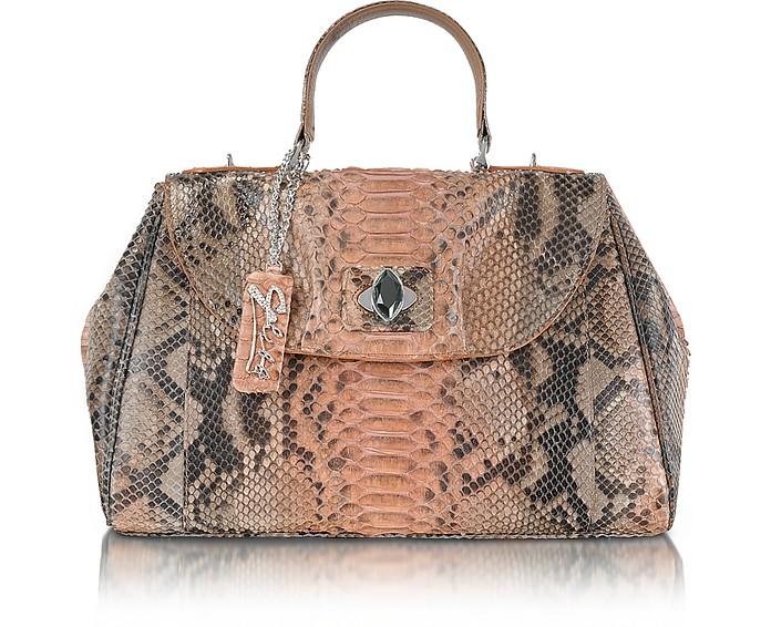 Pink Python Leather Satchel Bag - Ghibli