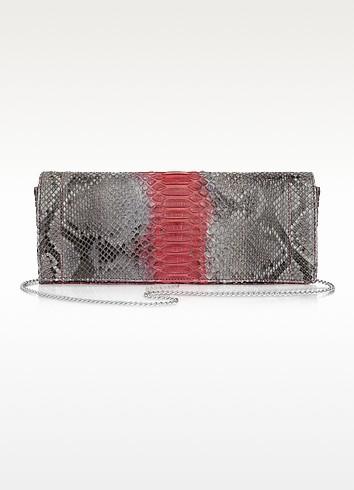 Gray Python Leather Clutch - Ghibli
