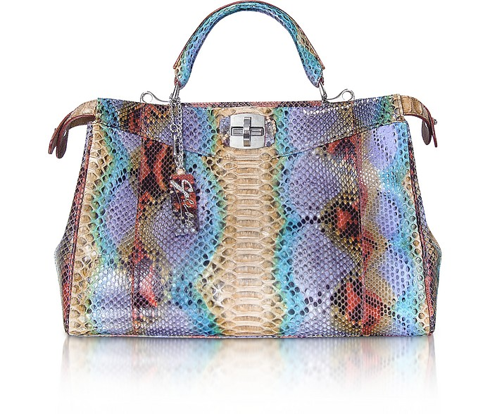 Python Leather Satchel Bag - Ghibli