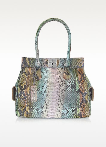 Green Python Leather Satchel Bag - Ghibli