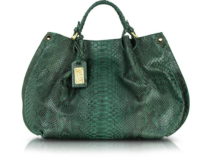 Green Python Leather Tote - Ghibli
