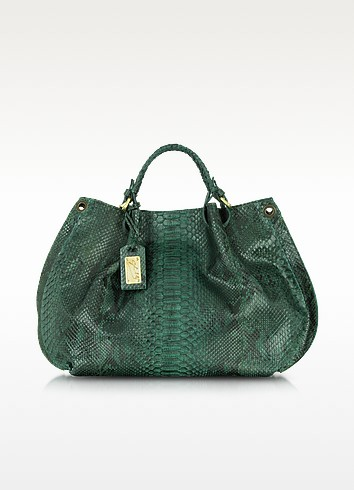 Green Python Leather Tote - Ghibli
