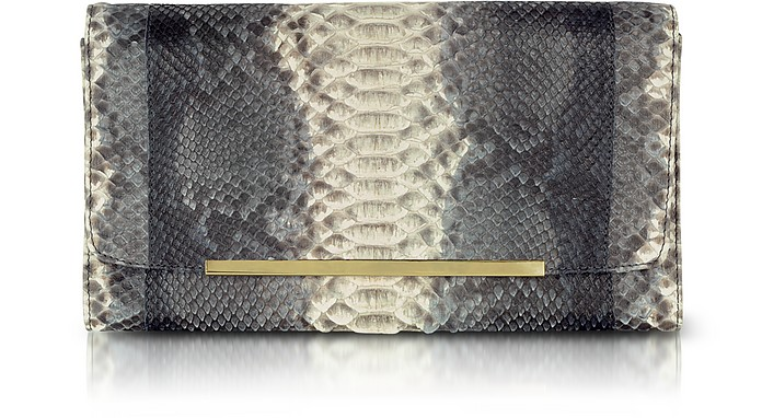 Reversible Gray and Black Python Clutch - Ghibli