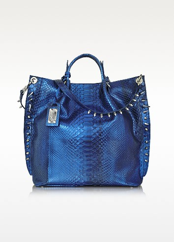 Metallic Blue Python Leather Tote - Ghibli