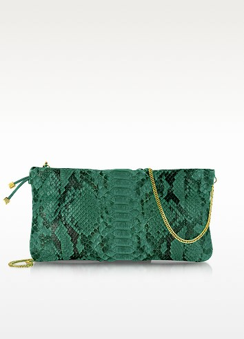 Python Leather Clutch w/ Golden Chain Strap - Ghibli