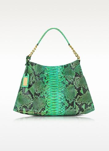 Emerald Green Python Leather Shoulder Bag - Ghibli