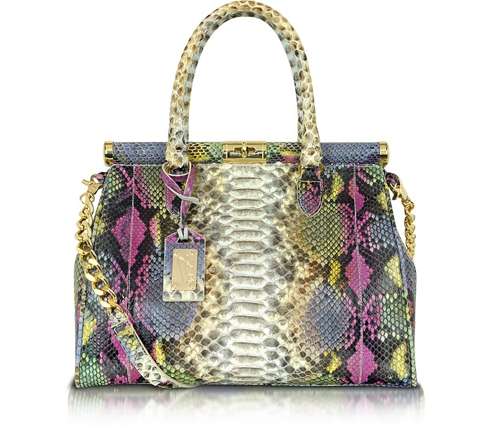 Multicolor Python Leather Satchel - Ghibli