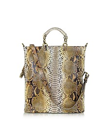 Large Python Leather Tote - Ghibli