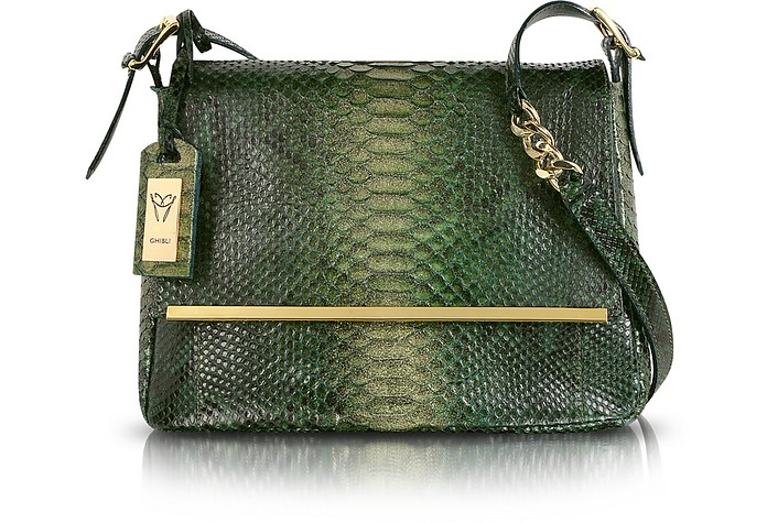 Emerald Green Python Leather Shoulder Bag - Ghibli