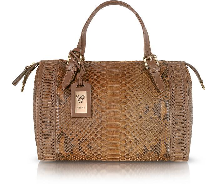 Brown Python Leather Satchel Bag - Ghibli