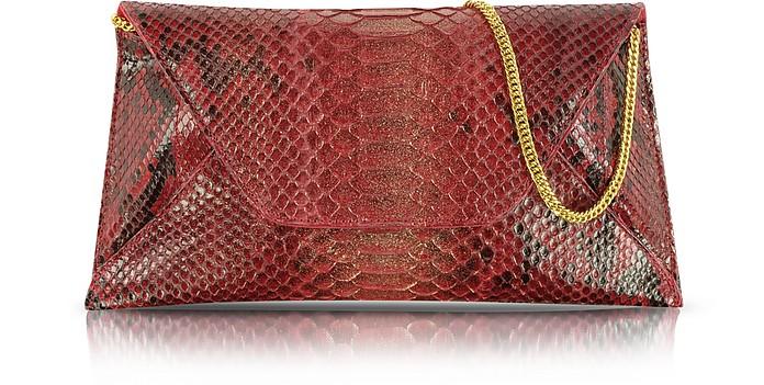 Red Python Leather Clutch - Ghibli