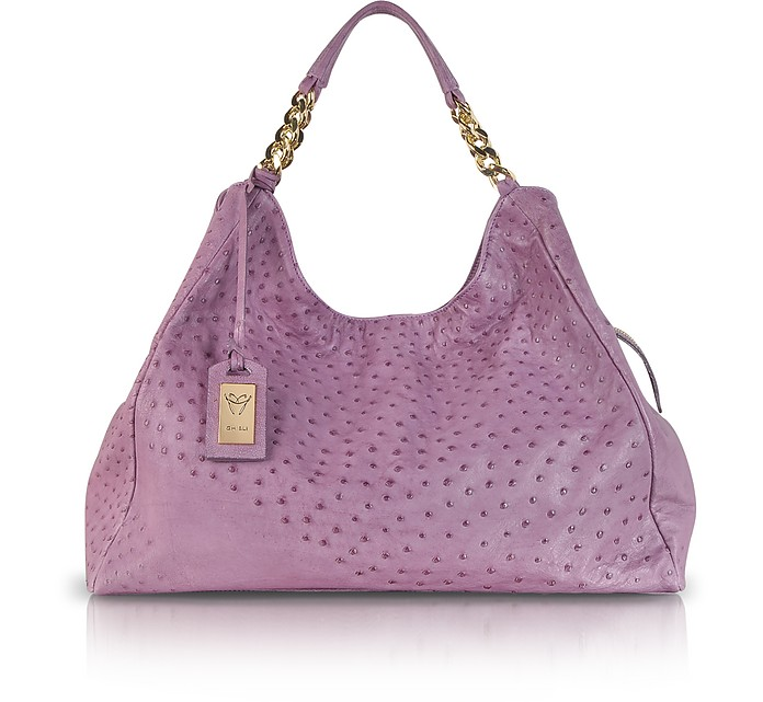 Purple Ostrich Leather Hobo Bag - Ghibli